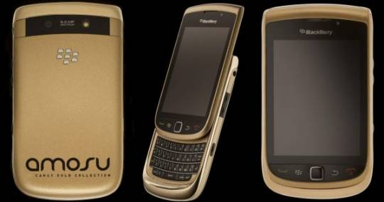 amosu solid gold blackberry torch handset