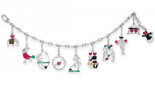 Art Deco Diamond and Multi-Gem Charm Bracelet