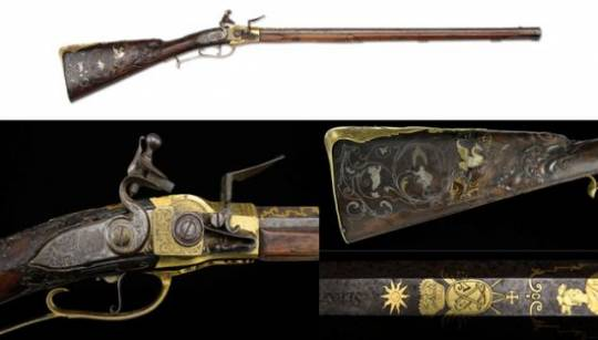 King Louis XV gold encrusted carbine gun