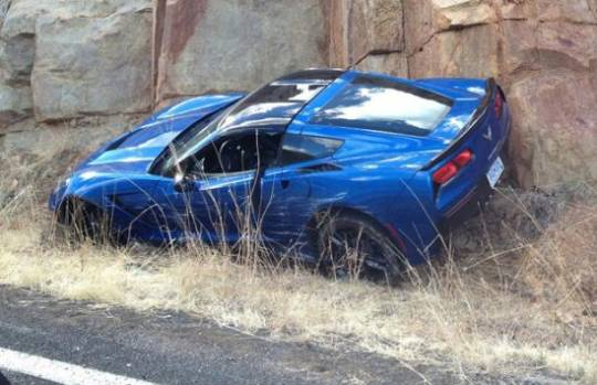 First 2014 Chevrolet Corvette Stingray 'C7' involved in one-car accident during routine testing in Arizona