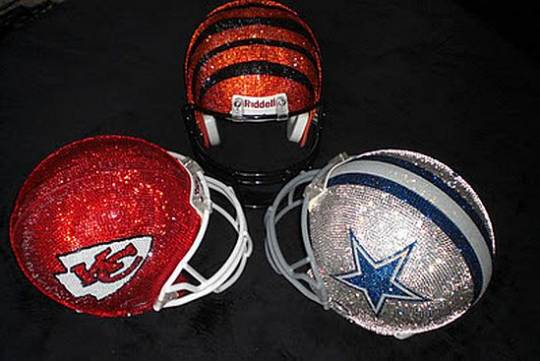 Swarovski studded football helmet