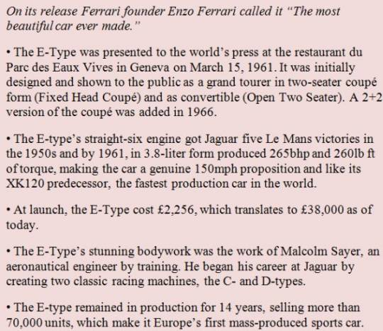 jaguar e type facts main