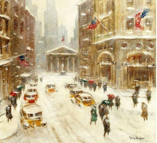 Guy Wiggins painting depicting a snowy New York street
