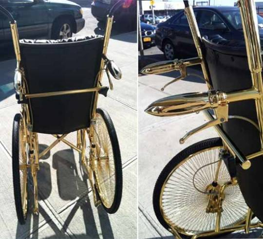 Lady Gaga's gold wheelchair