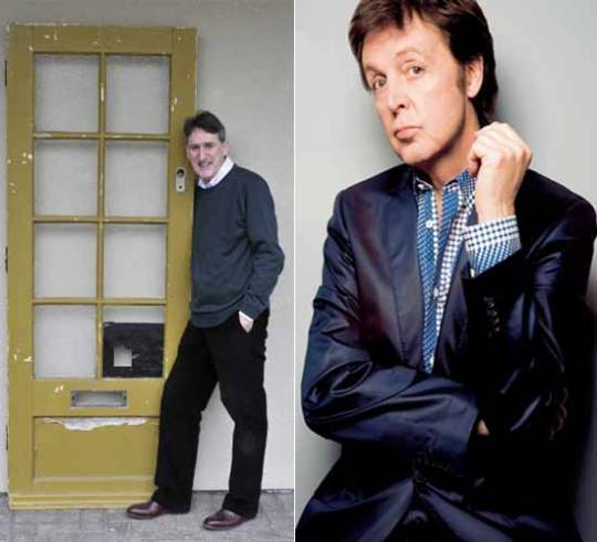 Sir Paul McCartney and the Liverpool home door, where he lived between 1955 and 1964