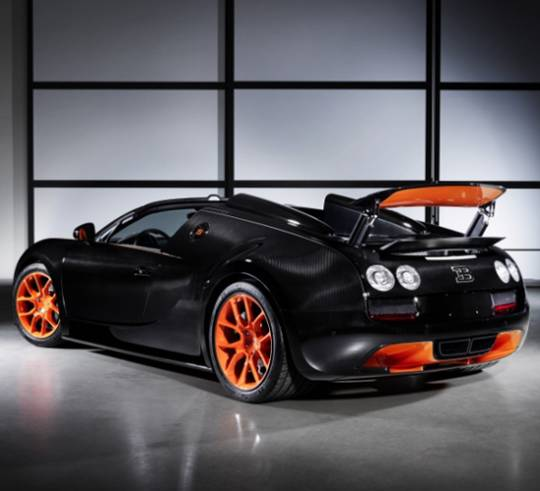 Bugatti Grand Sport World Record edition has been given an interplay of tangerine and black shades throughout