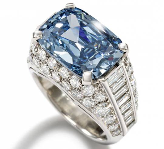 Most expensive blue diamond set in a Bulgari made ring