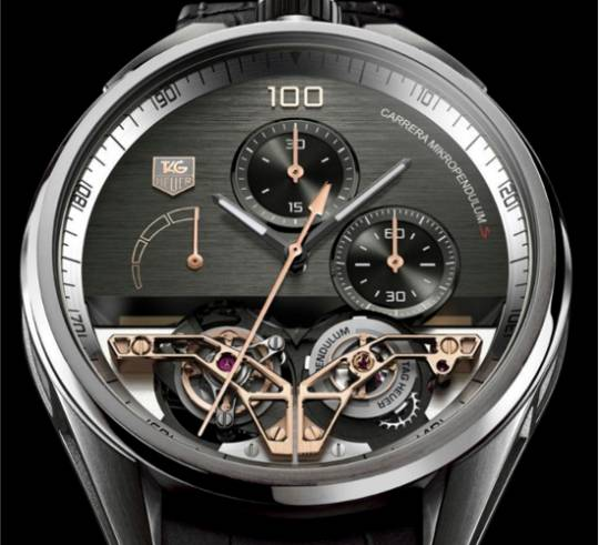 Tag Heuer MikroPendulum S Watch with rose hands and bridges