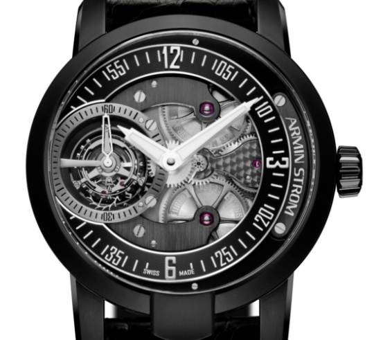 Armin Strom Gravity Earth watch with Black PVD stainless casing and black leather strap