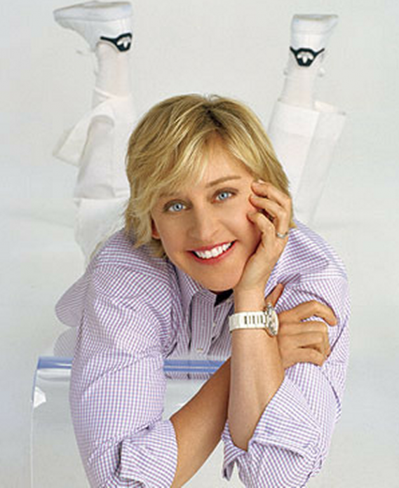Ellen is very fond of wearing Adidas superstar shell toe sneakers