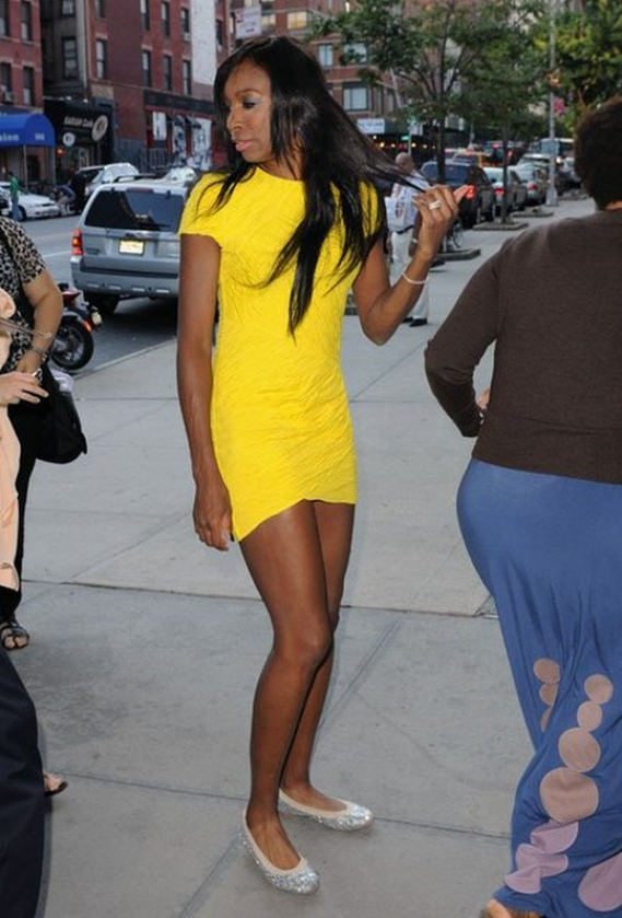 Venus Williams was recently spotted in a Stuart Weitzman Glittered Ballerina Flats.