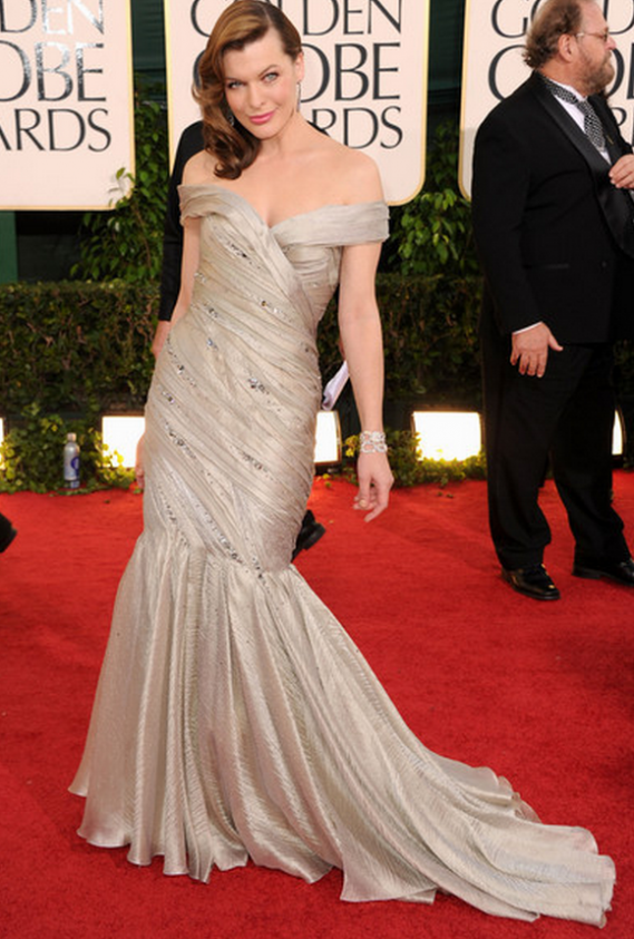 The artist has been snapped wearing this fashionable embroidered designer gown during the Golden Globe Red Carpet Awards held in 2012.