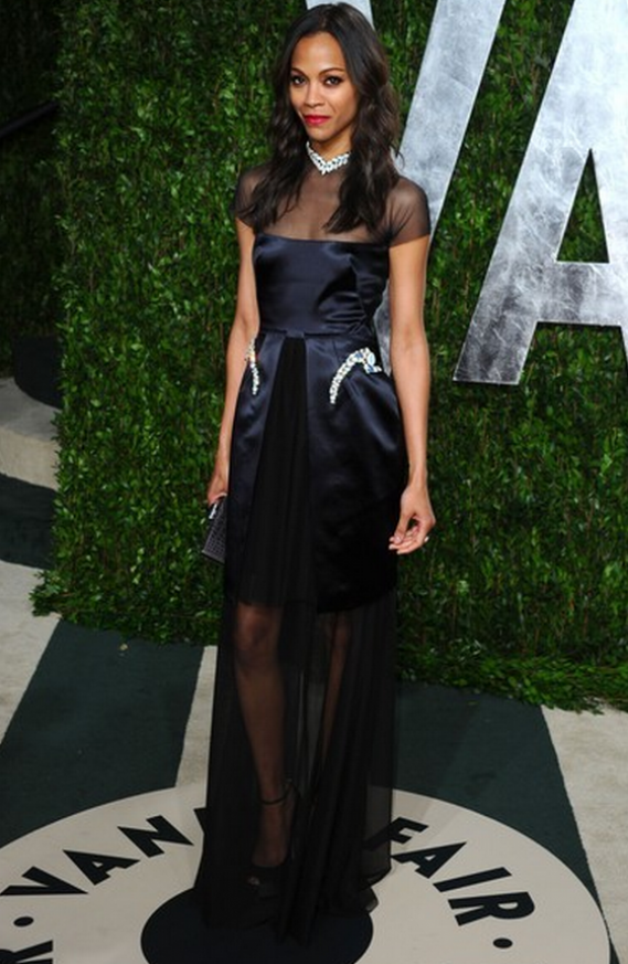 At the Vanity Fair Oscar after-party, Zoe Saldana steps out in Guiseppe Zanotti Satin Platform Peep Toe Pumps.