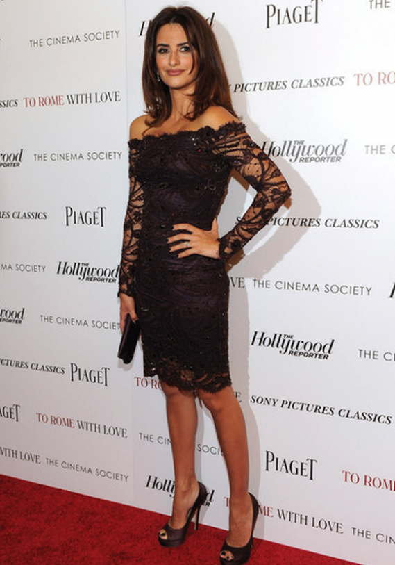 Spanish actress Penelope Cruz flaunted her designer pumps to the NYC screening of 'To Rome with Love'.