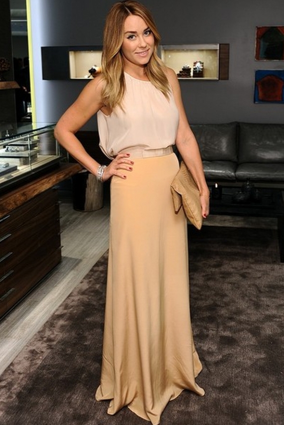 At the reopening of the David Yurman's Beverly Hills flagship boutique, Lauren Conrad sported a racer back vest in blush pink from the British label Top Shop.
