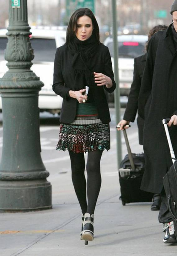 Connelly was looking stylish donning her designer sandals while standing outside the studios in New-York in January 2010.