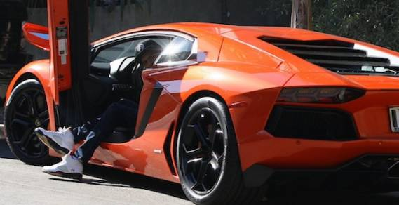 Chris Brown drives Lamborghini Aventadors