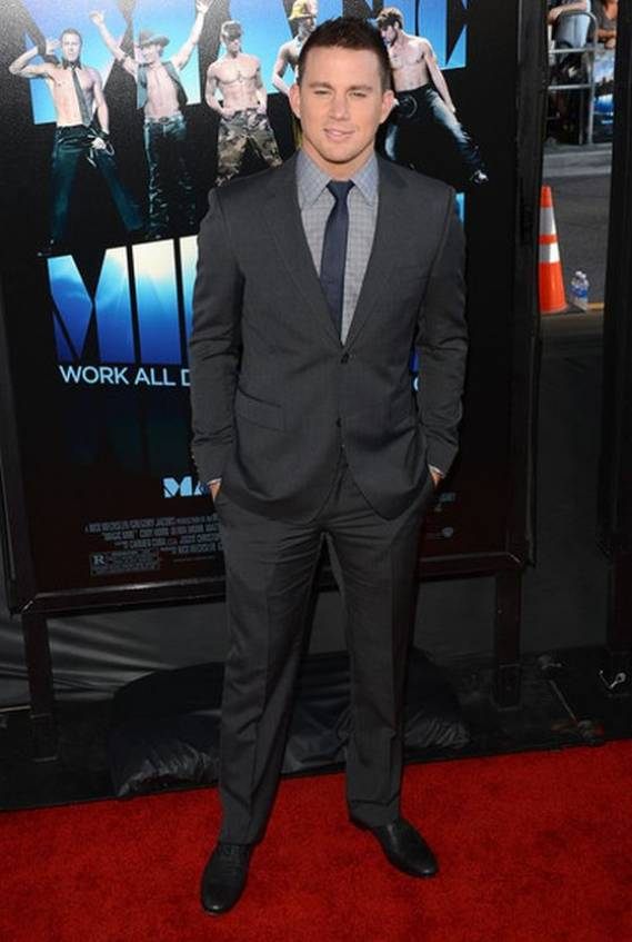 Channing Tatum wore the Canvas designer Marseille suit from Gucci and attended the premiere of Magic Mike in LA on the 24th of June, 2012.
