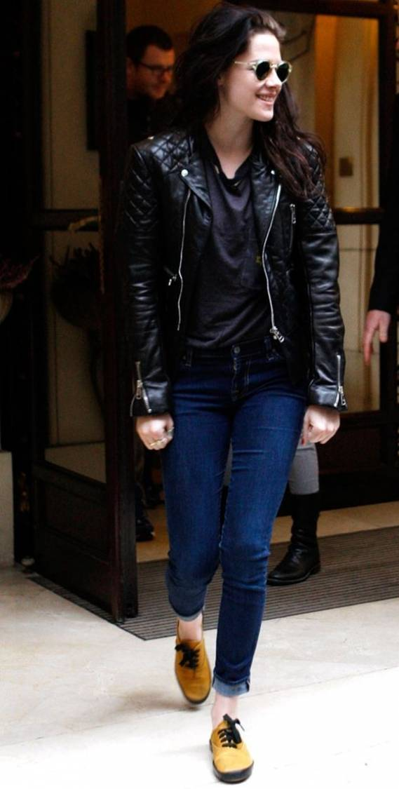 Kristen Stewart wears Balenciaga leather jacket