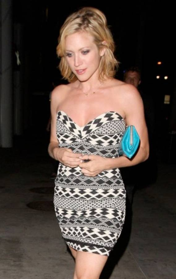 Brittany Snow wears Myne Indiana Strapless Mini Dress