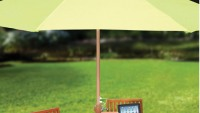 Patio Umbrella with Solar Panels lets you charge your USB gadgets