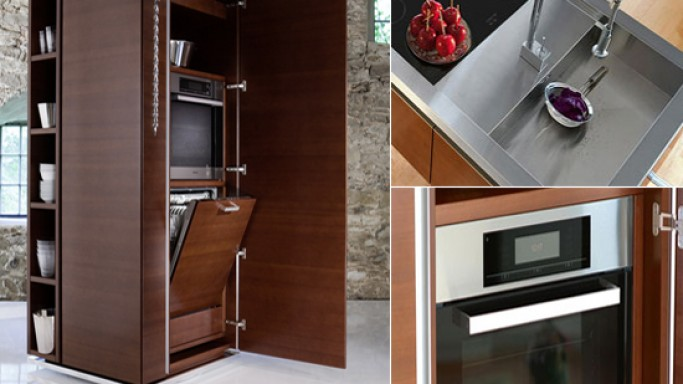 Philippe Starck modular kitchen towers from Warendorf for compact modern homes
