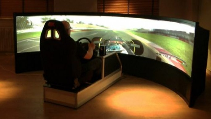 Benny drive's 160-inch curved rear screen racing simulator is the big daddy of all
