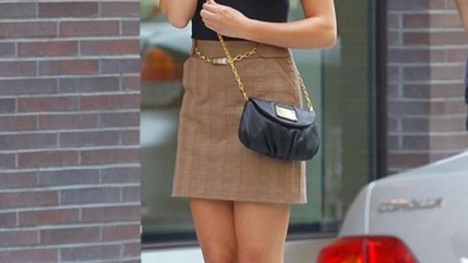 Michele was snapped carrying her designer bag while shooting in New York.