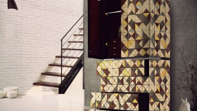 Boca Do Lobo limited-edition Pixel Anodized Cabinet comes with a new touch of geometrical art deco