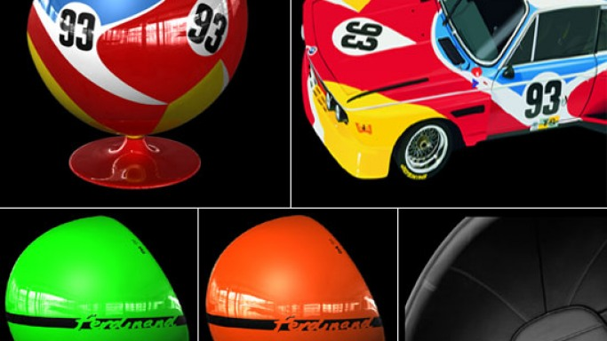 Art Ball and Art Egg furniture inspired by the iconic racing cars