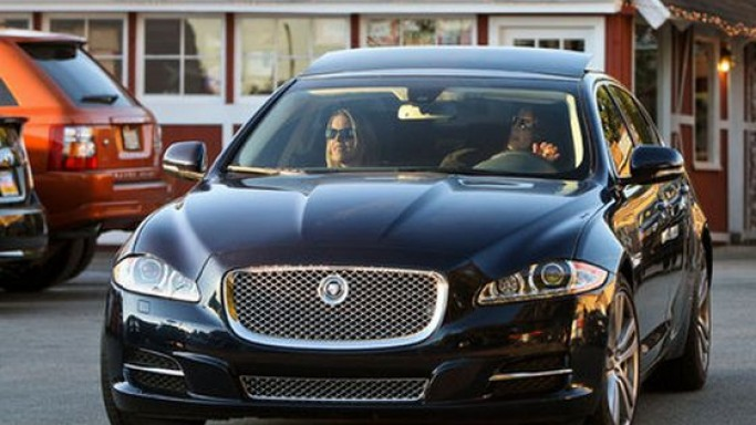 Alanis Morissette drives Jaguar XJ