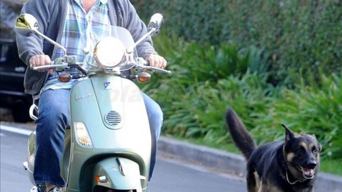 Zach Galifianakis drives Vespa