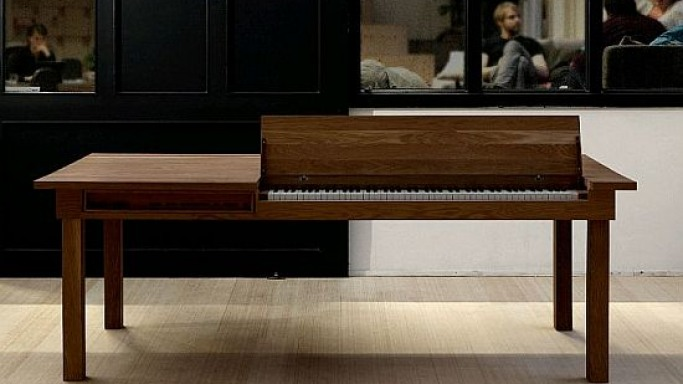 Functionally designed piano table plays a double