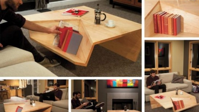 Nook Coffee Table by Dave Pickett with an integrated bookshelf