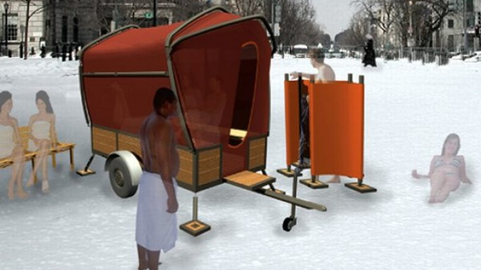 Studio Elmo Vermijs' Folding Sauna lets you relax anytime, anywhere