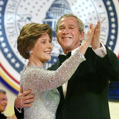 George W. Bush with beautiful, Wife Laura Bush